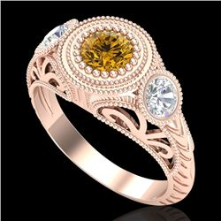 1.06 CTW Intense Fancy Yellow Diamond Art Deco 3 Stone Ring 18K Rose Gold - REF-154A5X - 37498