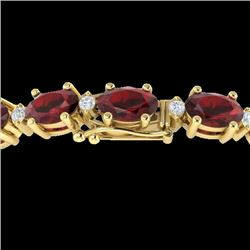 15 CTW Garnet & VS/SI Diamond Eternity Bracelet 10K Yellow Gold - REF-74X2T - 21452