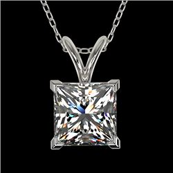 1.25 CTW Certified VS/SI Quality Princess Diamond Necklace 10K White Gold - REF-423F3N - 33214