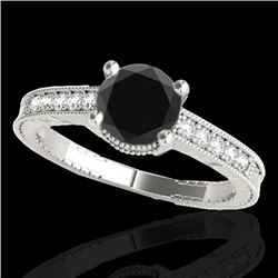 1.75 CTW Certified VS Black Diamond Solitaire Antique Ring 10K White Gold - REF-66M2H - 34768