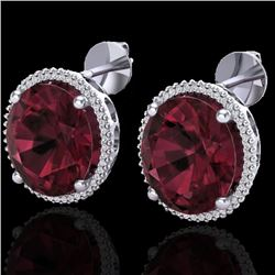 20 CTW Garnet & Micro Pave VS/SI Diamond Halo Earrings 18K White Gold - REF-118Y2K - 20273