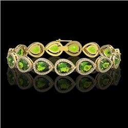 15.8 CTW Peridot & Diamond Halo Bracelet 10K Yellow Gold - REF-316T8M - 41263