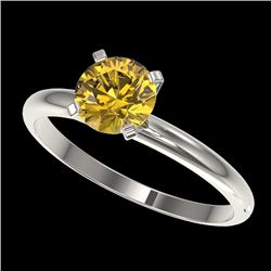 1.01 CTW Certified Intense Yellow SI Diamond Solitaire Engagement Ring 10K White Gold - REF-180T2M -