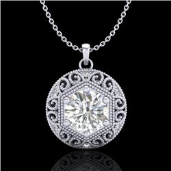 1.11 CTW VS/SI Diamond Solitaire Art Deco Stud Necklace 18K White Gold - REF-315F2N - 36923