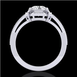 1 CTW VS/SI Diamond Solitaire Art Deco Ring 18K White Gold - REF-318M3H - 36872