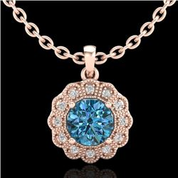 1.15 CTW Fancy Intense Blue Diamond Solitaire Art Deco Necklace 18K Rose Gold - REF-180F2N - 37846