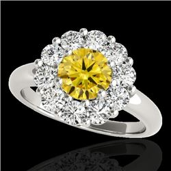 2.09 CTW Certified Si/I Fancy Intense Yellow Diamond Solitaire Halo Ring 10K White Gold - REF-250F9N