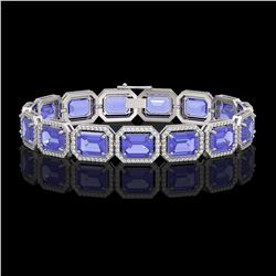 36.37 CTW Tanzanite & Diamond Halo Bracelet 10K White Gold - REF-776K4W - 41531