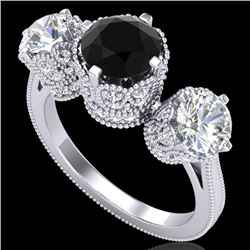 3.06 CTW Fancy Black Diamond Solitaire Art Deco 3 Stone Ring 18K White Gold - REF-294W9F - 37387
