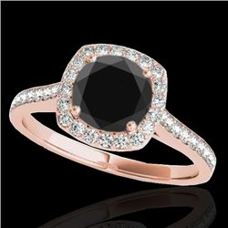 1.4 CTW Certified VS Black Diamond Solitaire Halo Ring 10K Rose Gold - REF-61M3H - 34188