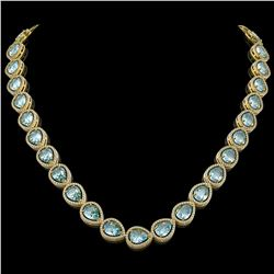 41.6 CTW Aquamarine & Diamond Halo Necklace 10K Yellow Gold - REF-896F4N - 41212