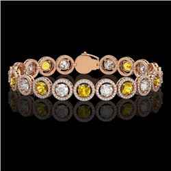 13.76 CTW Canary Yellow & White Diamond Designer Bracelet 18K Rose Gold - REF-1948K4W - 42600