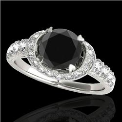 1.75 CTW Certified VS Black Diamond Solitaire Halo Ring 10K White Gold - REF-86A4X - 34453