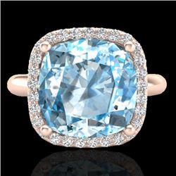 6 CTW Sky Blue Topaz & Micro Pave Halo VS/SI Diamond Ring 14K Rose Gold - REF-46H2A - 23107
