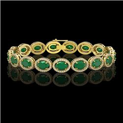 22.89 CTW Emerald & Diamond Halo Bracelet 10K Yellow Gold - REF-291F5N - 40603