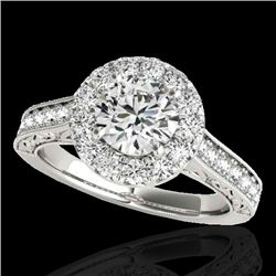 1.7 CTW H-SI/I Certified Diamond Solitaire Halo Ring 10K White Gold - REF-178X2T - 33724