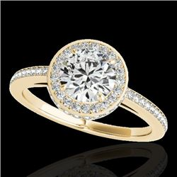 1.55 CTW H-SI/I Certified Diamond Solitaire Halo Ring 10K Yellow Gold - REF-180Y2K - 34276