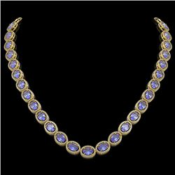 48.65 CTW Tanzanite & Diamond Halo Necklace 10K Yellow Gold - REF-797N3Y - 40564