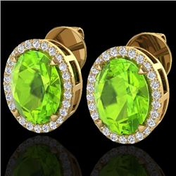 5.50 CTW Peridot & Micro VS/SI Diamond Halo Earrings 18K Yellow Gold - REF-72F5N - 20256