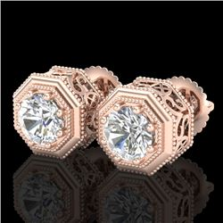 1.07 CTW VS/SI Diamond Solitaire Art Deco Stud Earrings 18K Rose Gold - REF-190K9W - 37095