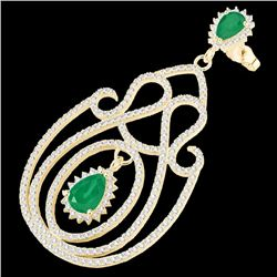 6.40 CTW Emerald & Micro Pave VS/SI Diamond Earrings 14K Yellow Gold - REF-303A5X - 22426