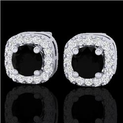 0.90 CTW Micro Pave Black & VS/SI Diamond Earrings Designer Halo 18K White Gold - REF-58H2A - 21169