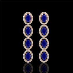 6.47 CTW Sapphire & Diamond Halo Earrings 10K Rose Gold - REF-109H5A - 40509