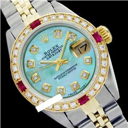 Rolex Ladies Two Tone 14K Gold/SS, Diam Dial & Diam/Ruby Bezel, Sapphire Crystal - REF-440N7A