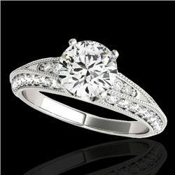 1.58 CTW H-SI/I Certified Diamond Solitaire Antique Ring 10K White Gold - REF-172H8A - 34621