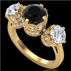 3.06 CTW Fancy Black Diamond Solitaire Art Deco 3 Stone Ring 18K Yellow Gold - REF-294T9M - 37389