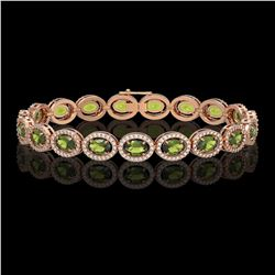 13.87 CTW Tourmaline & Diamond Halo Bracelet 10K Rose Gold - REF-271N6Y - 40473