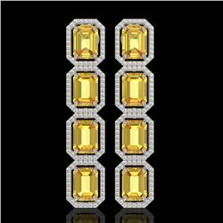 18.64 CTW Fancy Citrine & Diamond Halo Earrings 10K White Gold - REF-184H2A - 41612