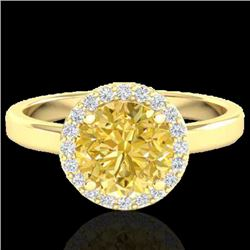 2 CTW Citrine & Halo VS/SI Diamond Micro Pave Ring Solitaire 18K Yellow Gold - REF-48K5W - 21627