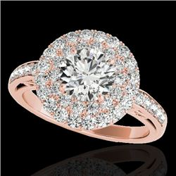 2.25 CTW H-SI/I Certified Diamond Solitaire Halo Ring 10K Rose Gold - REF-218T2M - 34203