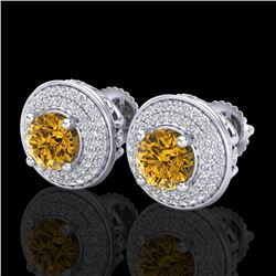 2.35 CTW Intense Fancy Yellow Diamond Art Deco Stud Earrings 18K White Gold - REF-236Y4K - 38134