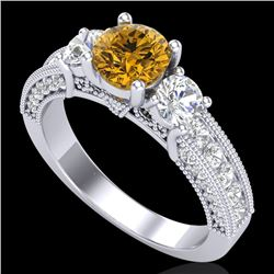 2.07 CTW Intense Fancy Yellow Diamond Art Deco 3 Stone Ring 18K White Gold - REF-254T5M - 37784