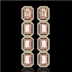 19.81 CTW Morganite & Diamond Halo Earrings 10K Yellow Gold - REF-424N8Y - 41584