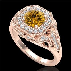 1.75 CTW Intense Fancy Yellow Diamond Engagement Art Deco Ring 18K Rose Gold - REF-236K4W - 38282