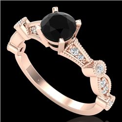 1.03 CTW Fancy Black Diamond Solitaire Engagement Art Deco Ring 18K Rose Gold - REF-80F2N - 37675