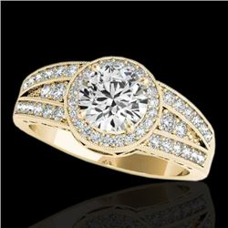 1.5 CTW H-SI/I Certified Diamond Solitaire Halo Ring 10K Yellow Gold - REF-180X2T - 34071