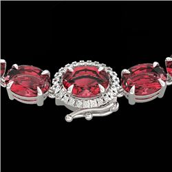 66 CTW Pink Tourmaline & VS/SI Diamond Tennis Micro Halo Necklace 14K White Gold - REF-651W6F - 2347