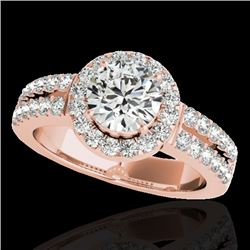 1.5 CTW H-SI/I Certified Diamond Solitaire Halo Ring 10K Rose Gold - REF-180H2A - 33990
