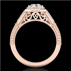 0.84 CTW VS/SI Diamond Solitaire Art Deco Ring 18K Rose Gold - REF-236H4A - 37092