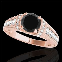 1.5 CTW Certified VS Black Diamond Solitaire Antique Ring 10K Rose Gold - REF-77T6M - 34778