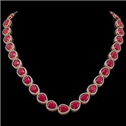 64.01 CTW Ruby & Diamond Halo Necklace 10K Rose Gold - REF-785A8X - 41190