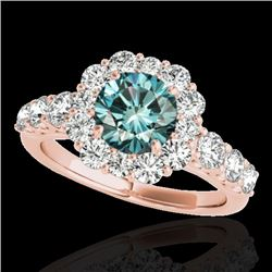 2.25 CTW Si Certified Fancy Blue Diamond Solitaire Halo Ring 10K Rose Gold - REF-207H6A - 33388