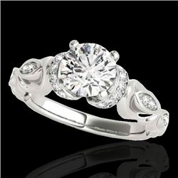 1.2 CTW H-SI/I Certified Diamond Solitaire Antique Ring 10K White Gold - REF-161X8T - 34675