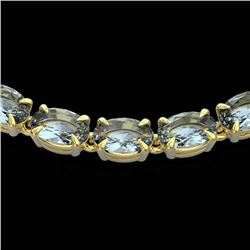 29 CTW Aquamarine Eternity Tennis Necklace 14K Yellow Gold - REF-276N2Y - 23372