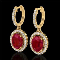 4.25 CTW Ruby & Micro Pave VS/SI Diamond Earrings Solitaire Halo 18K Yellow Gold - REF-118M2H - 2033
