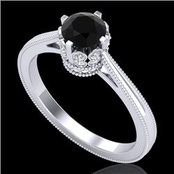 0.81 CTW Fancy Black Diamond Solitaire Engagement Art Deco Ring 18K White Gold - REF-78M2H - 37331